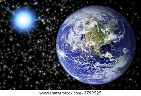 Planet earth with computer generated background of stars and bright flare.