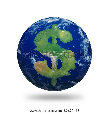 Planet Earth with dollar sign shaped continents and clouds over a starry sky. Contains clipping path of planet.