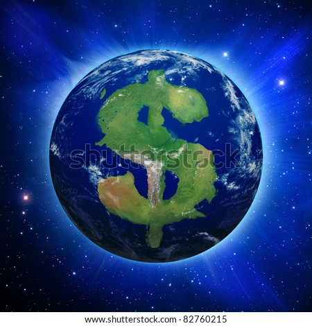 Planet Earth with dollar sign shaped continents and clouds over a starry sky.