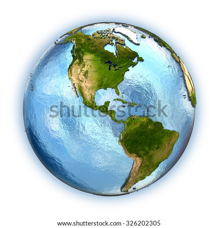 Planet Earth with embossed continents and country borders. America. Isolated on white background. Elements of this image furnished by NASA.