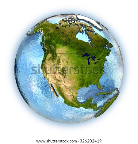 Planet Earth with embossed continents and country borders. North America. Isolated on white background. Elements of this image furnished by NASA.