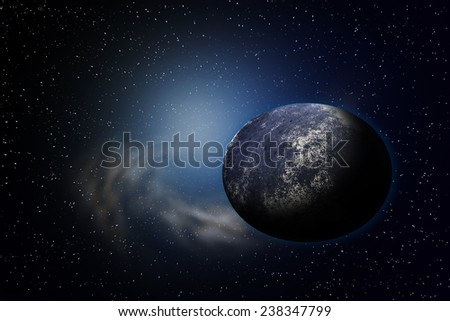Planet earth with flare in space - stock photo