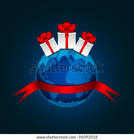 Planet Earth with gift boxes and a red ribbon. - stock photo