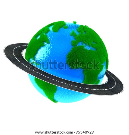 Planet Earth with green grass and road around - stock photo