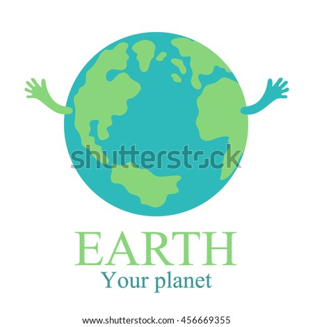 planet earth with hands map globe with text illustration raster copy. - stock photo