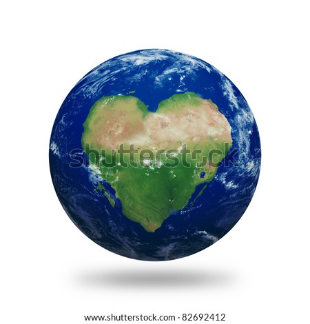 Planet Earth with heart shaped continents and clouds over a starry sky. Contains clipping path of planet.