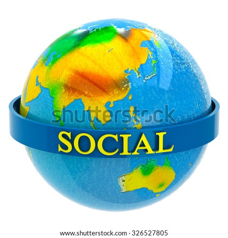 Planet earth with inscription social - stock photo