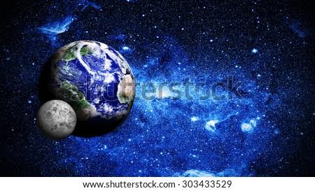 planet earth with moon Elements of this image furnished by NASA - stock photo