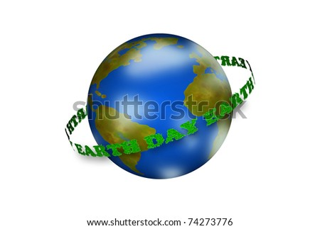 Planet earth with orbiting Grass textured Earth Day text - stock photo
