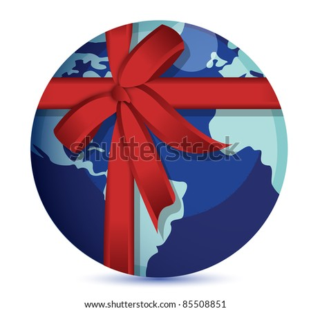 Planet Earth with red ribbon. - stock photo