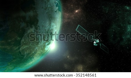 Planet earth with satellite rendered in detailed view from outer space . - stock photo