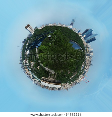 Planet earth with skyscrapers and buildings - stock photo
