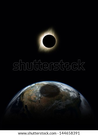 Planet Earth with Solar Eclipse. Elements of this image furnished by NASA. - stock photo