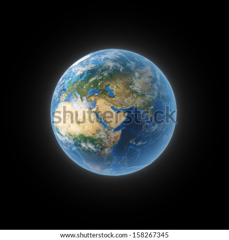 Planet Earth with some clouds over a black background. Elements of this image furnished by NASA - stock photo