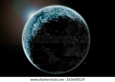 Planet earth with sun rising - stock photo