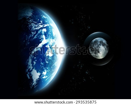 Planet earth with sun rising and the moon from space-original image from NASA.gov  - stock photo