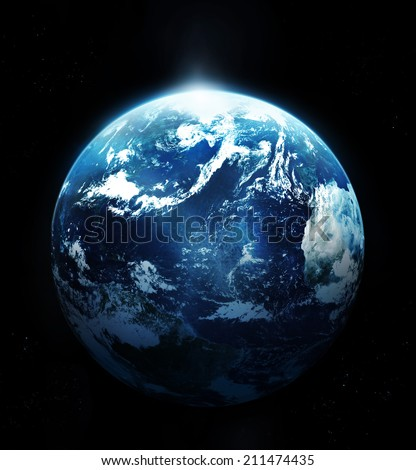 Planet earth with sun rising from space-original image from NASA - stock photo