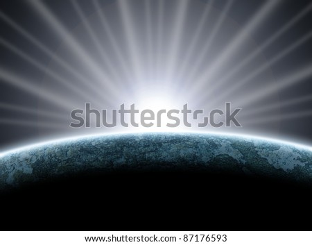 Planet earth  with sunrise and Global View in space Background. - stock photo