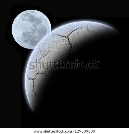 Planet earth with sunrise and moon in space - stock photo