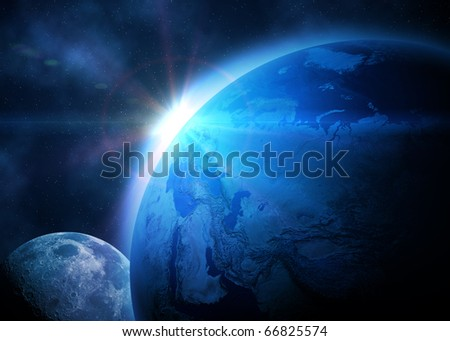 Planet earth with sunrise in space - stock photo