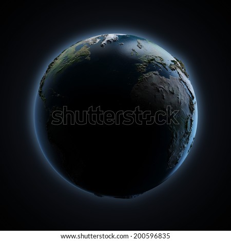 Planet earth with sunrise in space  isolated on a black background. Earth map provided by NASA - stock photo