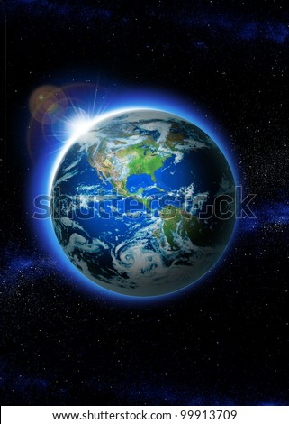 Planet earth with sunrise in space, Rising Sun over Earth (Elements of this image furnished by NASA) - stock photo