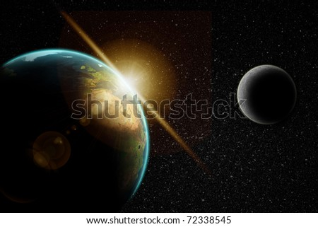 Planet earth with sunrise in space witch moon and stars background - stock photo