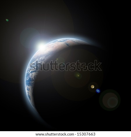 planet earth with sunrize in space - stock photo