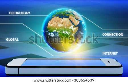 Planet earth with the continent of Africa on a mobile phone. - stock photo