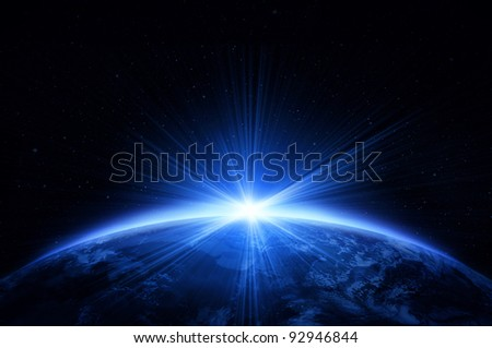 Planet earth with the sunrise - stock photo