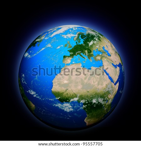 Planet earth with translucent water of the oceans, atmosphere, volumetric clouds, and detailed topography in outer space - stock photo