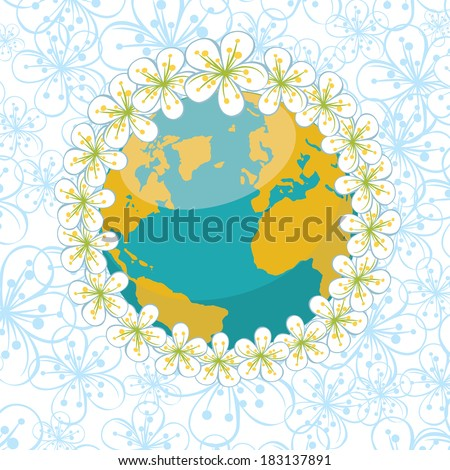 Planet earth with wreath of spring flowers.Spring background of flowers of cherry or Apple on flowers ornament background.Illustration - stock photo