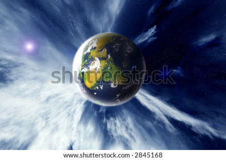 planet earth zooming through space abstract illustration - stock photo