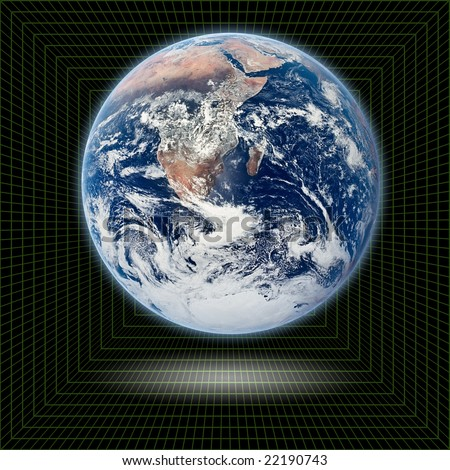 Planet eath in 3D mesh - stock photo