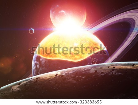 Planet Explosion - Apocalypse - End of The Time. Elements of this image furnished by NASA - stock photo