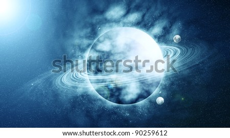 planet in beautiful space - stock photo