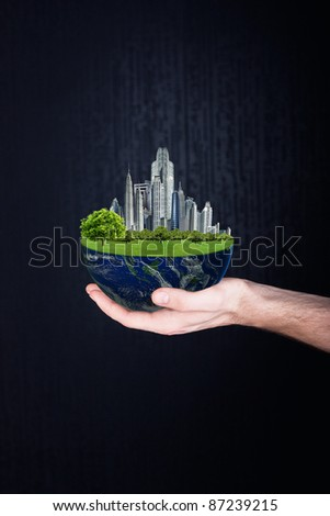 Planet in hands. ecology concept