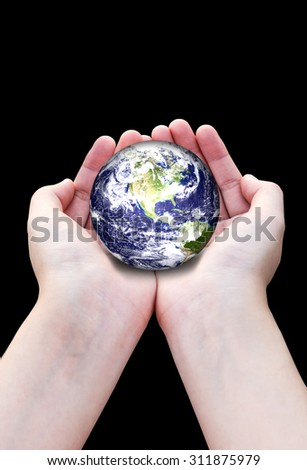 Planet in hands, Elements of this image furnished by nasa.