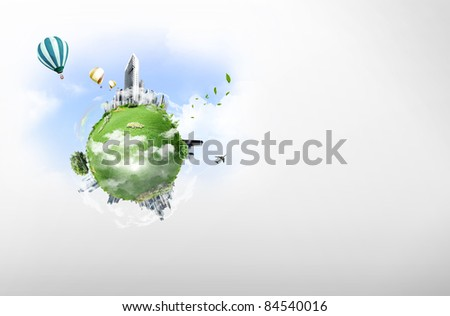 Planet in the sky. business concept - stock photo