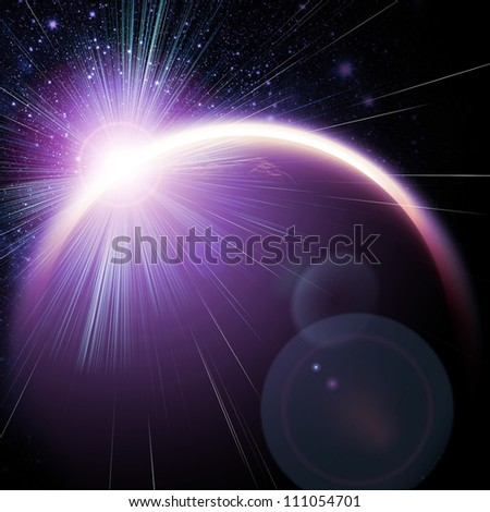 Planet in the space and stars with galaxies - stock photo