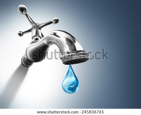 Planet in water drop - water conservation concept - Europe - elements of this image furnished by NASA  - stock photo