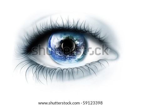 planet is in the eye - stock photo