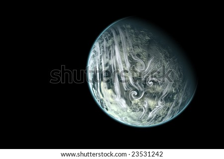 planet isolated in black