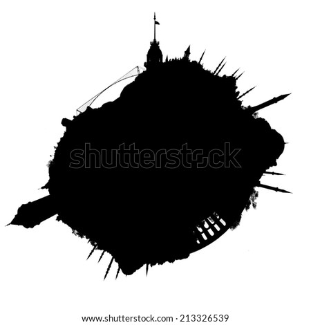 Planet Istanbul silhouette - outline of a miniature planet of Istanbul, Turkey, with all important buildings and attractions of the city, isolated on white - stock photo