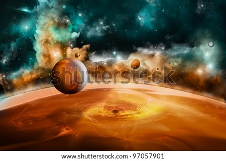 Planet landscape - stock photo