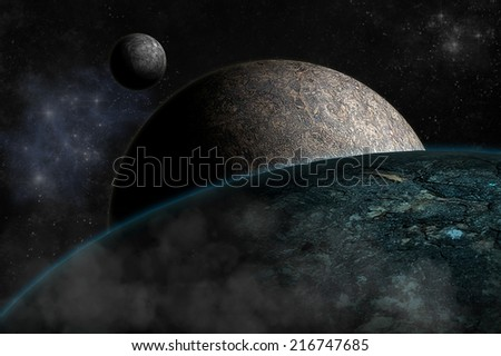 Planet landscape in space, digital retouch. - stock photo