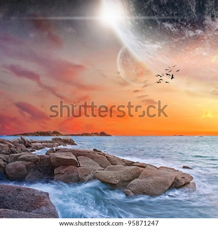 Planet landscape view from a beach - stock photo
