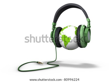 Planet listening to music - stock photo