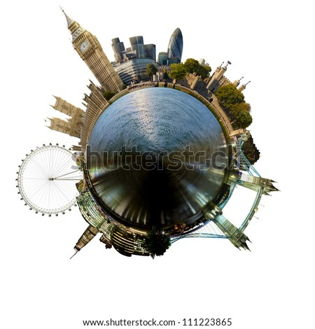 Planet London - Miniature planet of London, with all important buildings and attractions of the city, isolated on white - stock photo