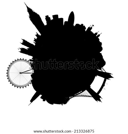 Planet London silhouette - outline of a miniature planet of London, England, with all important buildings and attractions of the city, isolated on white - stock photo